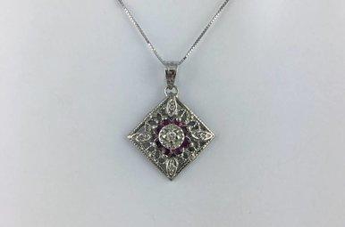 14k White Gold .25ctw Ruby & .08ctw Diamond Vintage Pendant Necklace