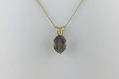 14k Yellow Gold Solitarie Smoky Quartz Pendant Necklace