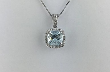 14k White Gold 1.13ct Aquamarine & 1/8ct Diamond Necklace
