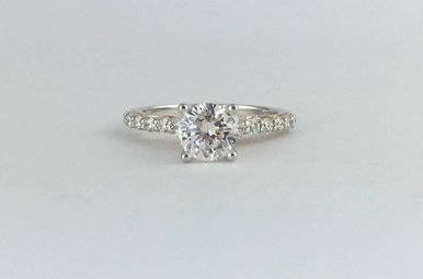 14k Two-Tone White/Rose Gold .50ct Diamond Semi Mount (6.5mm CZ Ctr) Engagement Ring