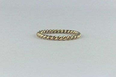 14k Yellow Gold Barely There Twist Stackable Bands  (Size 6)