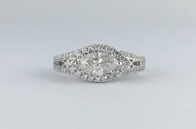 14k White Gold 1.31ctw (.95ct H/SI2 Marquise Center) Diamond Halo Engagement Ring