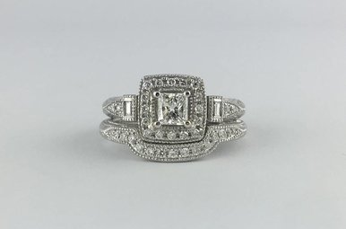 14k White Gold Romance .57ctw (.40ct G/VS2 Princess Center) Engagement Ring & 14k White Gold .10ctw Diamond Matching Band