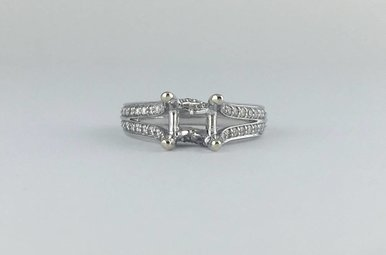 "14k White Gold 1/2ctw Diamond Art Carved ""Molly"" Engagement Ring"