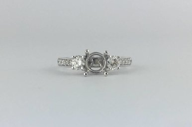 14k White Gold .48ctw Diamond (H/SI) Semi Mount Engagement Ring