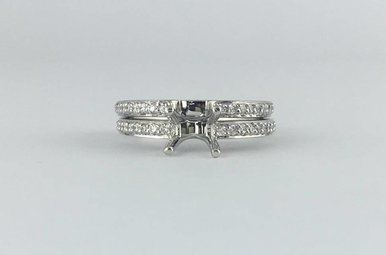 14k White Gold 1/2ctw Diamond Semi Mount Engagement Ring Set (Euro Shank)