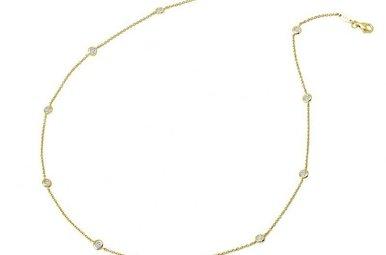 "Lafonn 1.1cttw 20 Stones Gold Station Adjustable Necklace 18-20"""