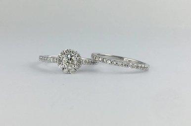 14k White Gold .96ctw Diamond (1/3ct Center) Round Halo Engagement Ring