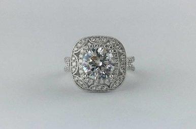 14k White Gold .80ct Diamond Custom Halo Semi Mount (8.00mm CZ Ctr) Engagement Ring