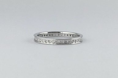 14k White Gold 3/8ctw Diamond Stackable Wedding Band Ring