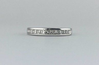 14k White Gold 1/2ctw Diamond Princess Cut Stackable Wedding Band Ring