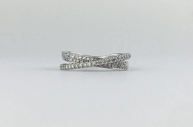 14k White Gold 1/2ctw Diamond Criss Cross Stackable Band Ring