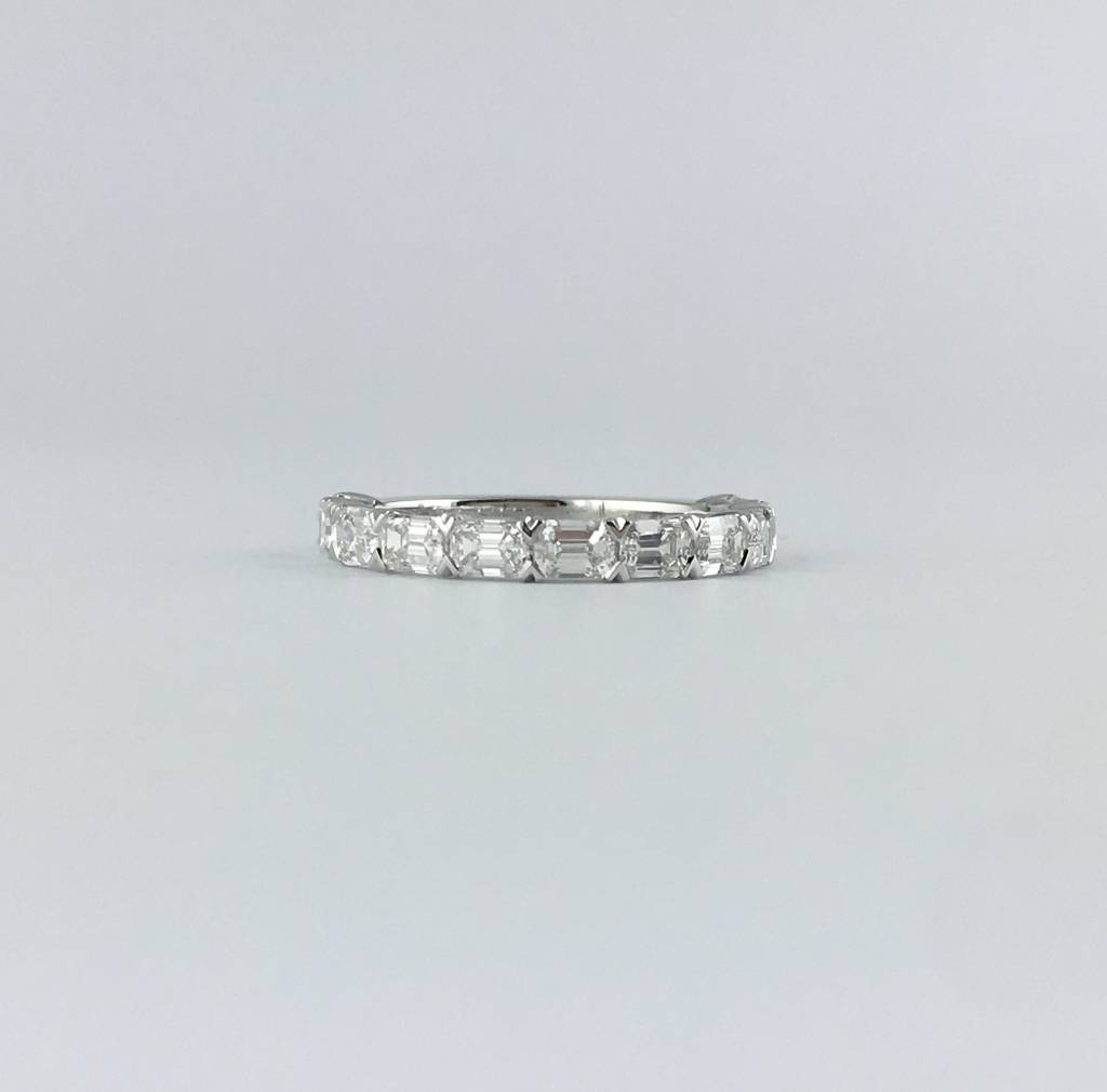14k White Gold 1.76ct Diamond East-West Emerald Stackable Wedding Band Ring