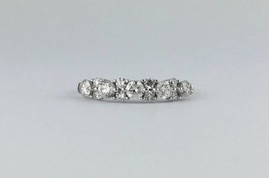 14k White Gold 1.02ctw Diamond Stackable Anniversary/Wedding Band Ring (Size 8)