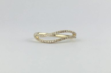 14k Yellow Gold .18ctw Diamond Wave Stackable Band Ring
