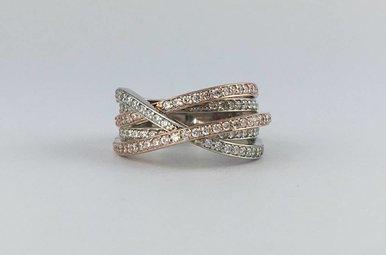 14k Two-Tone White/Rose Gold .94ctw Diamond Overlap Wrap Ring