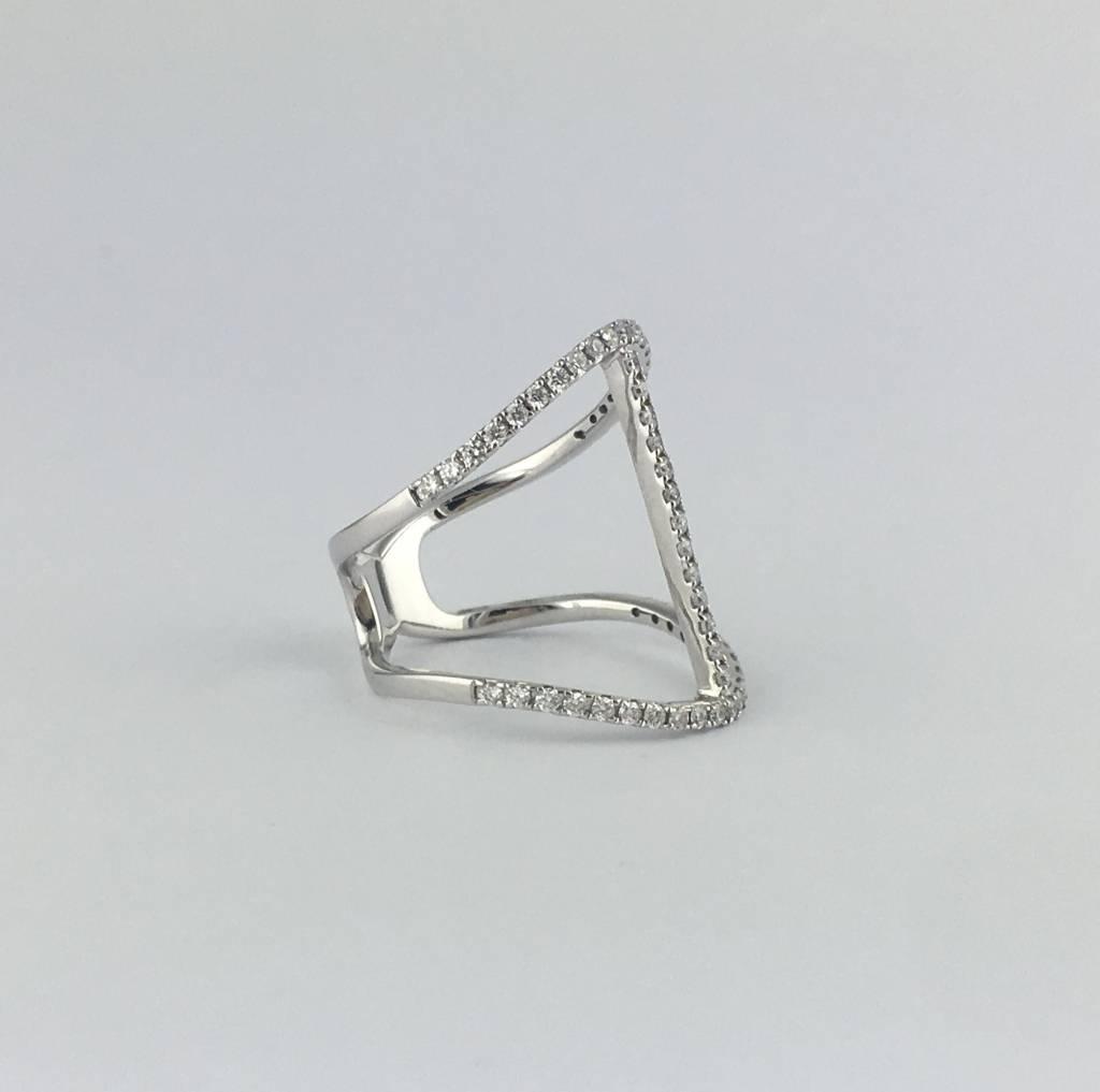 14k White Gold .60ctw Diamond Open Bar Ring
