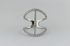 14k White Gold .60ctw Diamond Open Bar Ring