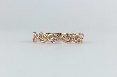 14k Rose Gold .15ctw Diamond Bead Wave Stackable Band Ring