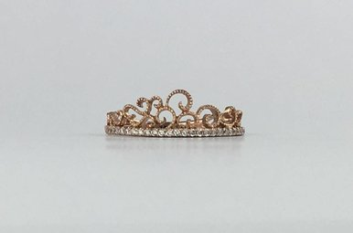 14k Rose Gold .12ctw Diamond Stackable Crown Ring