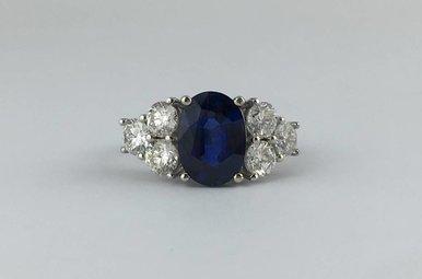 18k White Gold 2.85ct Sapphire & 1.68ctw Diamond Estate Vintage Ring