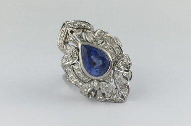 18k White Gold 2.95ct Sapphire 0.98ctw Diamond Pear Bezel Vintage Estate Ring