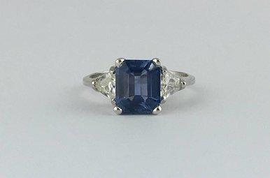 14k White Gold 2.10ctw Sapphire 0.45ctw Diamond Vintage Estate Ring