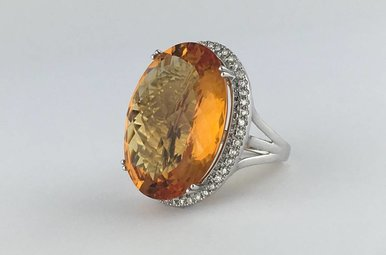 14k White Gold 31.05ct Citrine & Diamond Halo Vintage Estate Ring