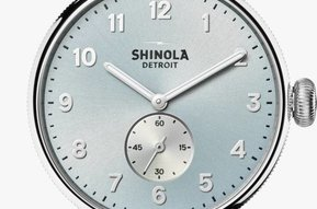 Shinola Canfield 38mm Slate Blue Dial, Light Blue Alligator Leather Strap Watch