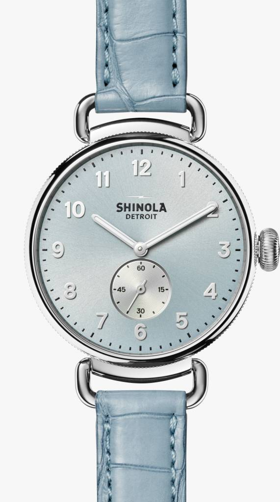 Brentwood Shinola Canfield 38mm Slate Blue Dial, Light Blue Alligator Leather Strap Watch