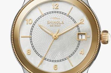 Shinola Gail 36mm Gold MOP Dial & Two-tone Bracelet Watch