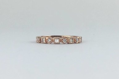 14k Rose Gold .27ctw Diamond Geometric Stackable Band Ring
