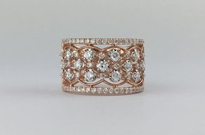 14k Rose Gold 1ctw Diamond Open Cigar Ring Band