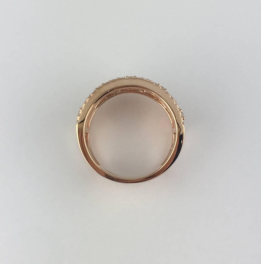 14k Rose Gold 1ctw Diamond Open Cigar Ring Band