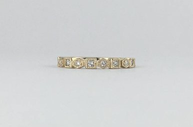 14k Yellow Gold .27ct Diamond Geometric Stackable Band Ring