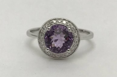 14KW 1.33CT AMY & .08CTW DIA LDS RING