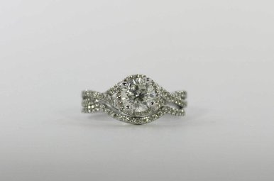 14KW 1.01CT-CTR 1.51CTW HALO ENGAGEMENT WEDDING SET WITH ROUND BRILLIANT CENTER & 1/2CTW ROUND BRILLIANTS