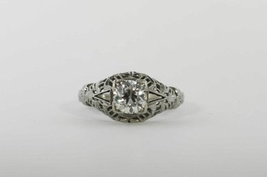 14KW  .80CT-EURO (I1) VINTAGE SOLITAIRE FILIGREE ENGAGEMENT RING WITH EUROPEAN CUT CENTER DIAMOND