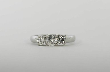 PLAT 1CTW PAST, PRESENT & FUTURE ENGAGEMENT RING WITH ROUND BRILLIANTS