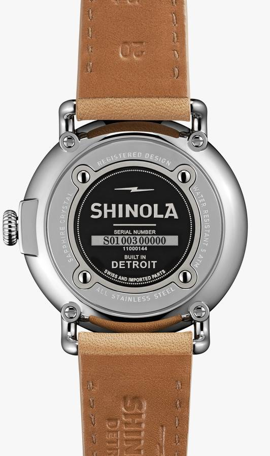 Brentwood Shinola Runwell 41mm, Midnight Blue Dial, Natural Leather Strap Watch