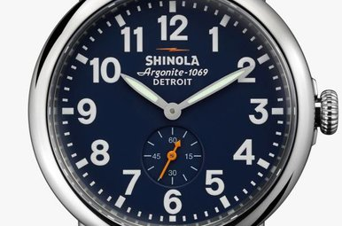 Shinola Runwell 41mm, Midnight Blue Dial, Natural Leather Strap Watch