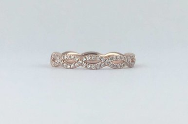 14k Rose Gold .23ctw Diamond Twisted Stackable Wedding Band (Size 6)