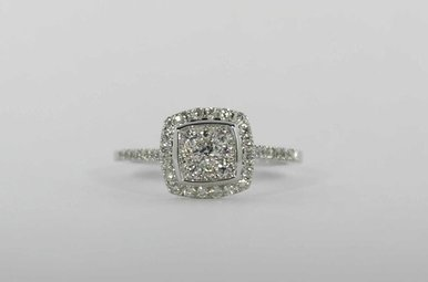 14KW .52CTW HALO ENGAGEMENT RING WITH MULTIPLE ROUND BRILLIANT CENTER