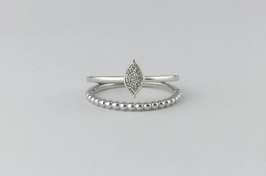 18k White Gold .04ctw Diamond Marquise Beaded Duo Stackable Ring (Size 6.5)
