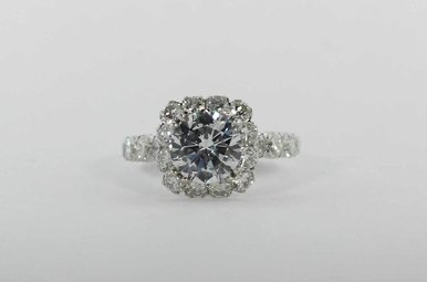 14KW 1.73CTW W/CZ-CTR HALO SEMI MOUNT ENGAGEMENT RING WITH ROUND BRILLIANT DIAMONDS (CUBIC ZIRCONIA CENTER)