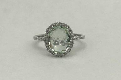 14KW 2.69CT GREEN AMETHYST & .15CTW DIAMOND LADIES RING