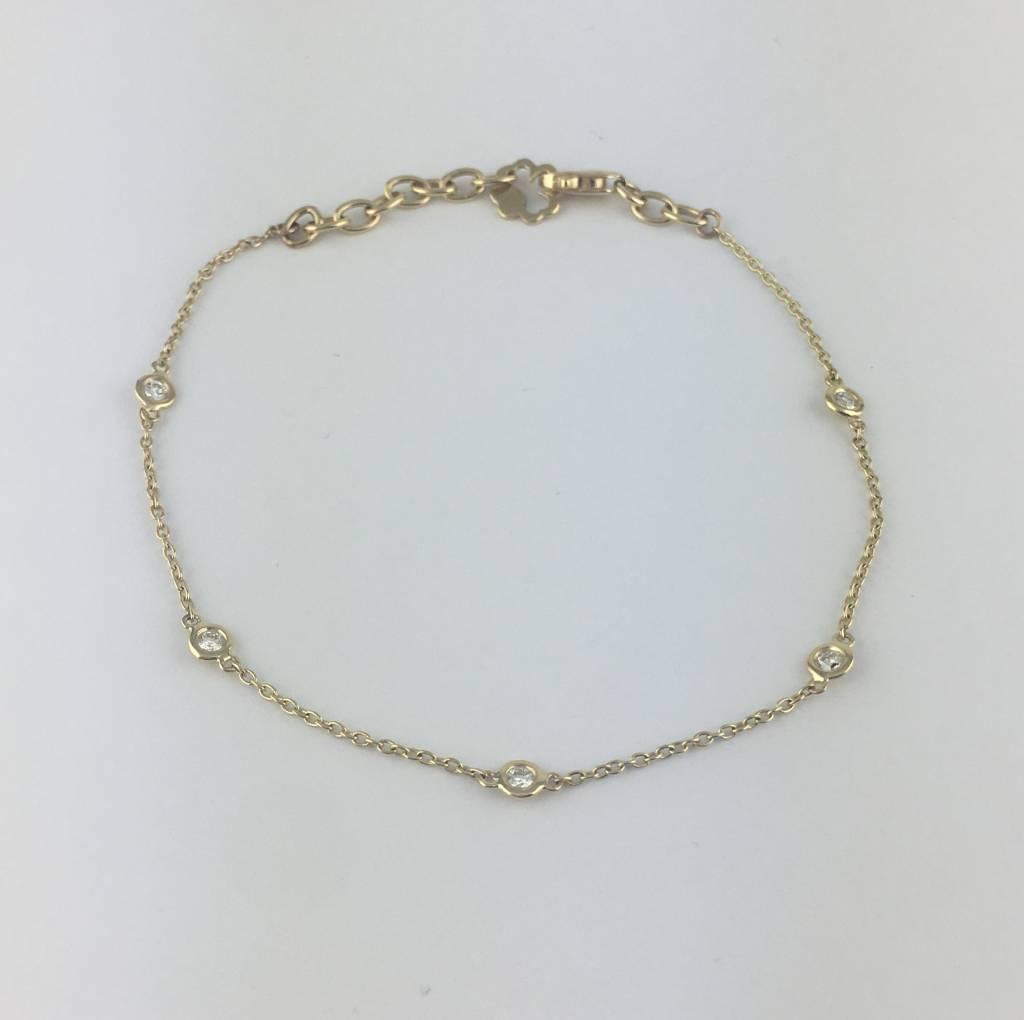 "Brentwood 14k Yellow Gold .18ctw Diamond Bezel Station Adjustable Bracelet 6-7"""