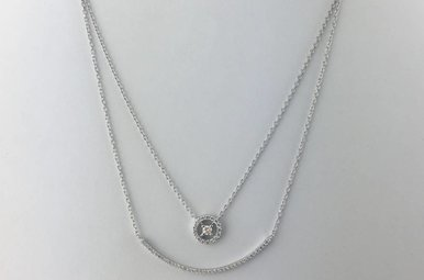 18k White Gold .40ctw Diamond Duo Curved Compass Layered Necklace 18""