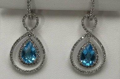14KW 2.6CT BLUE TOPAZ & .86CTW DIAMOND EARRINGS