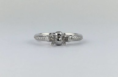 14k White Gold .27ctw Diamond Semi Mount Engagement Ring